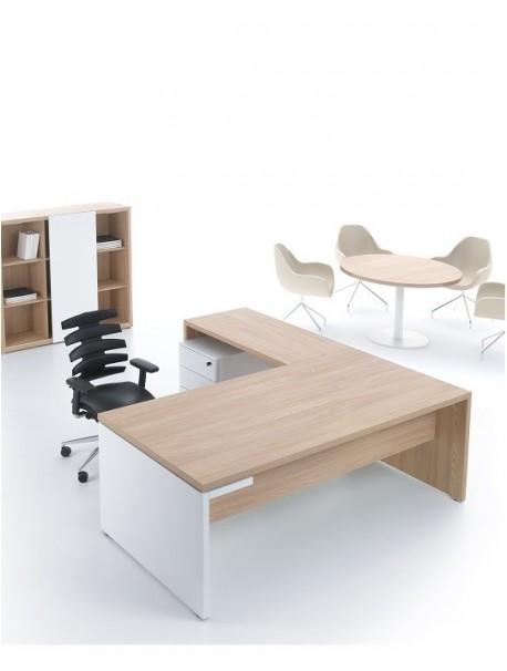 Bureau de direction en bois avec plan retour camore delex mobilier - Plan de travail avec retour ...