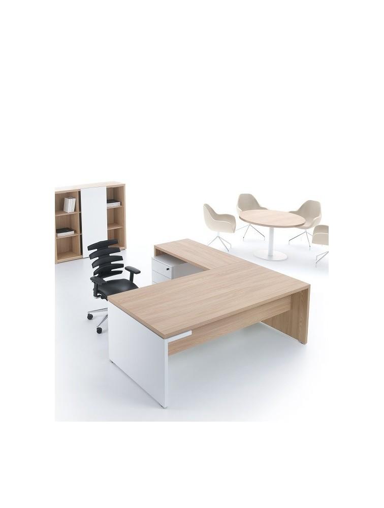 bureau de direction en bois avec plan retour camore delex mobilier. Black Bedroom Furniture Sets. Home Design Ideas