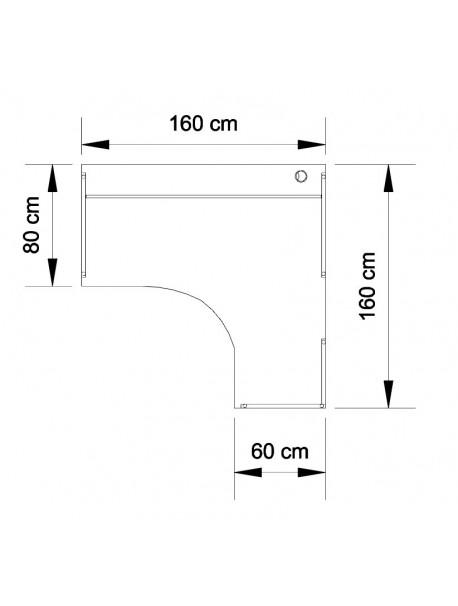 Dimensions bureau compact 90° BASIC retour à droite