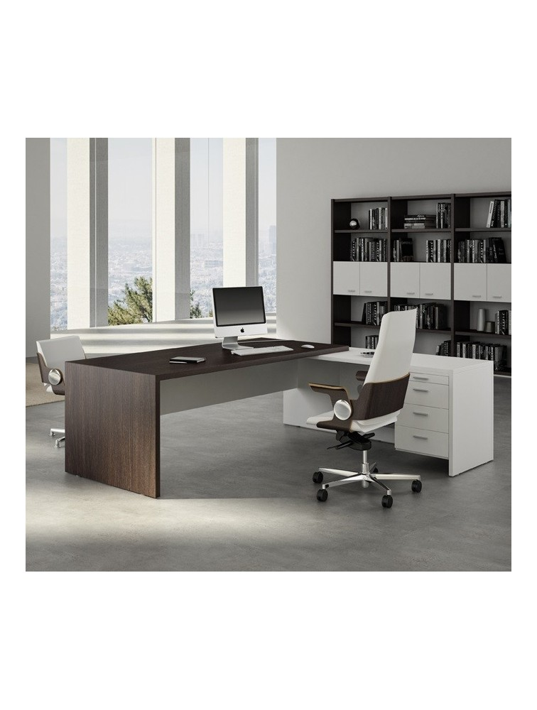 bureau de direction avec retour gauche ou droit quadra delex mobilier. Black Bedroom Furniture Sets. Home Design Ideas