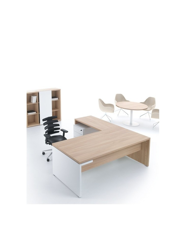 bureau de direction en bois avec plan retour camore. Black Bedroom Furniture Sets. Home Design Ideas
