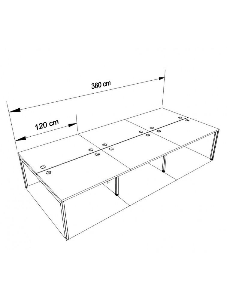 bureau bench design 6 personnes pas cher rise delex mobilier. Black Bedroom Furniture Sets. Home Design Ideas