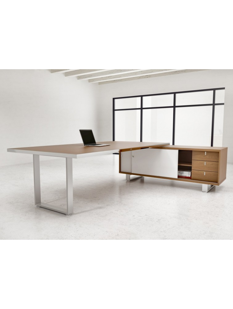Bureau de direction avec cr dence de rangement archimede for Bureau direction