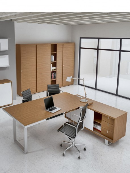 bureau de direction avec cr dence de rangement archimede alea office. Black Bedroom Furniture Sets. Home Design Ideas