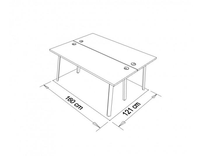Dimensions bureau bench partagé 2 personnes GAÏA L 160 x P 121 cm