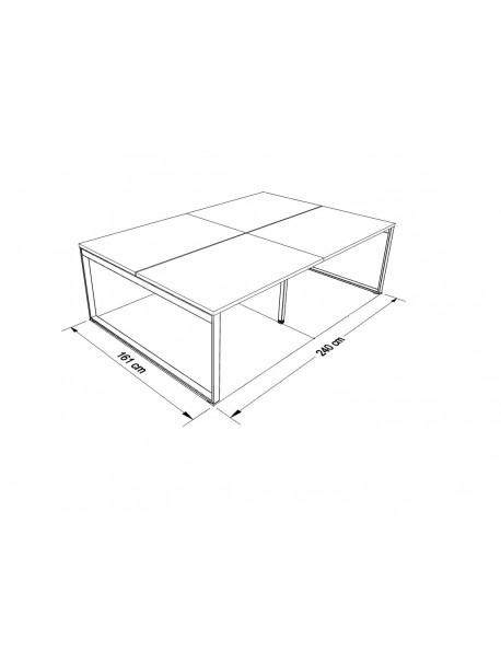 Dimensions bureau partagé 4 personnes RIO L 240 x P 161 cm