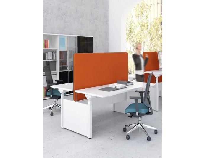 Bureau assis/debout réglable électrique 2 personnes DRIVE avec cloisonnette Orange