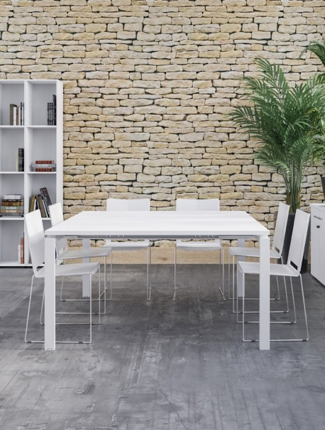Table de réunion carré 8 personnes ASTROLITE blanc / blanc