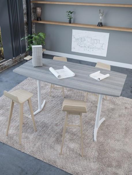 Table de réunion tonneau 200x100 cm réglable électrique ENVOL Cèdre