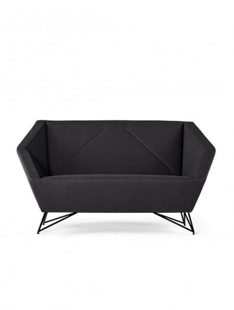 Canapé d'accueil design 2 places en tissu noir 3ANGLE