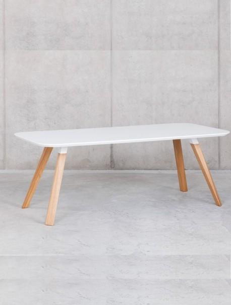 Table polyvalente design laqué blanc OBLIQUE