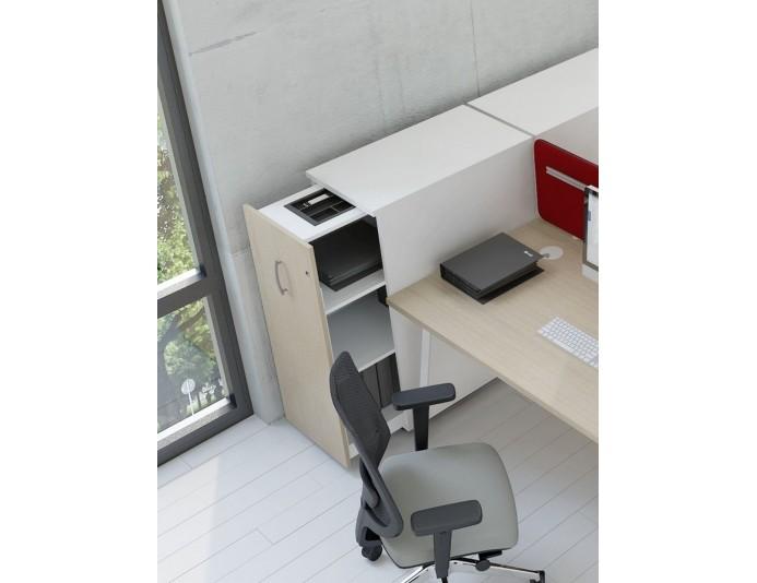 Caisson vertical bout de bureau 1 tiroir CARGO placé à gauche Bouleau clair