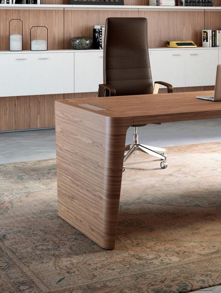 grand bureau de direction haut de gamme en bois secoya quadrifoglio. Black Bedroom Furniture Sets. Home Design Ideas