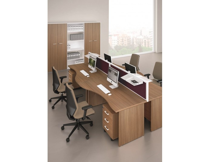 Bureau bench 4 personnes VAGUA - Noyer Canaletto