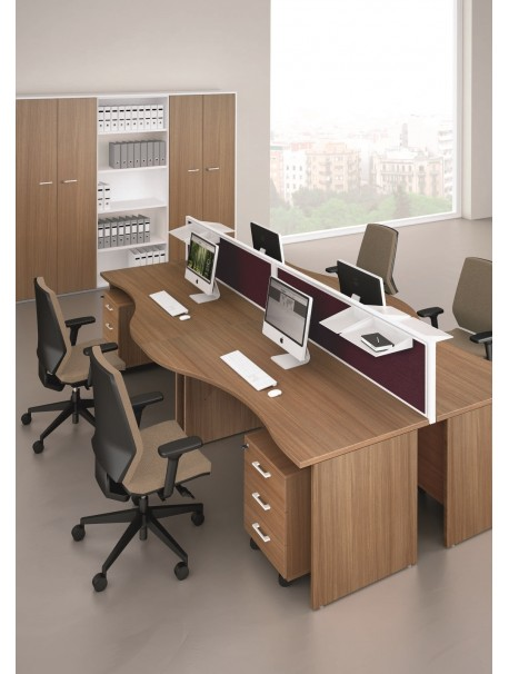 bureau bench 4 personnes avec plan de travail ergonomique en m lamine. Black Bedroom Furniture Sets. Home Design Ideas