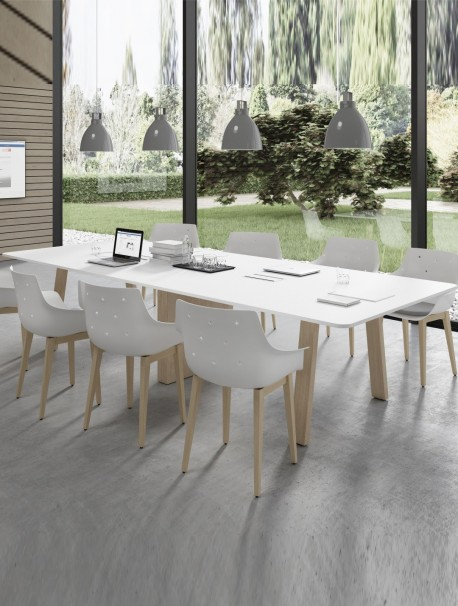 Table de réunion rectangulaire avec pieds en bois COUNTRY