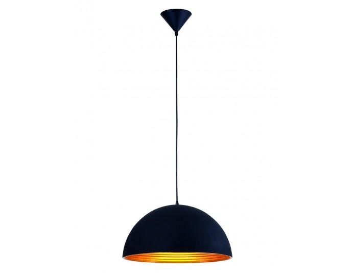 Lampe suspendue avec abat-jour demi-sphère design noir KUP
