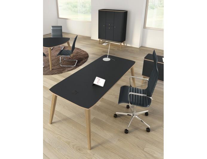 Bureau de direction design avec plateau linoléum gris ardoise ORGANIK