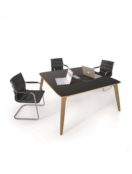 Table de conférence carrée en linoléum gris ORGANIK