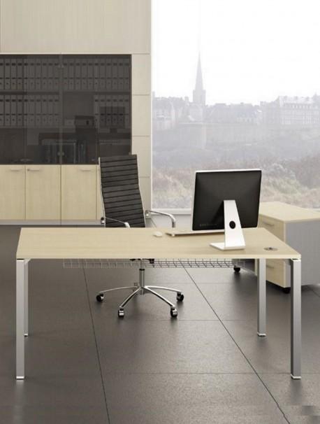 Table de bureau GATE plateau Érable et pied Aluminium