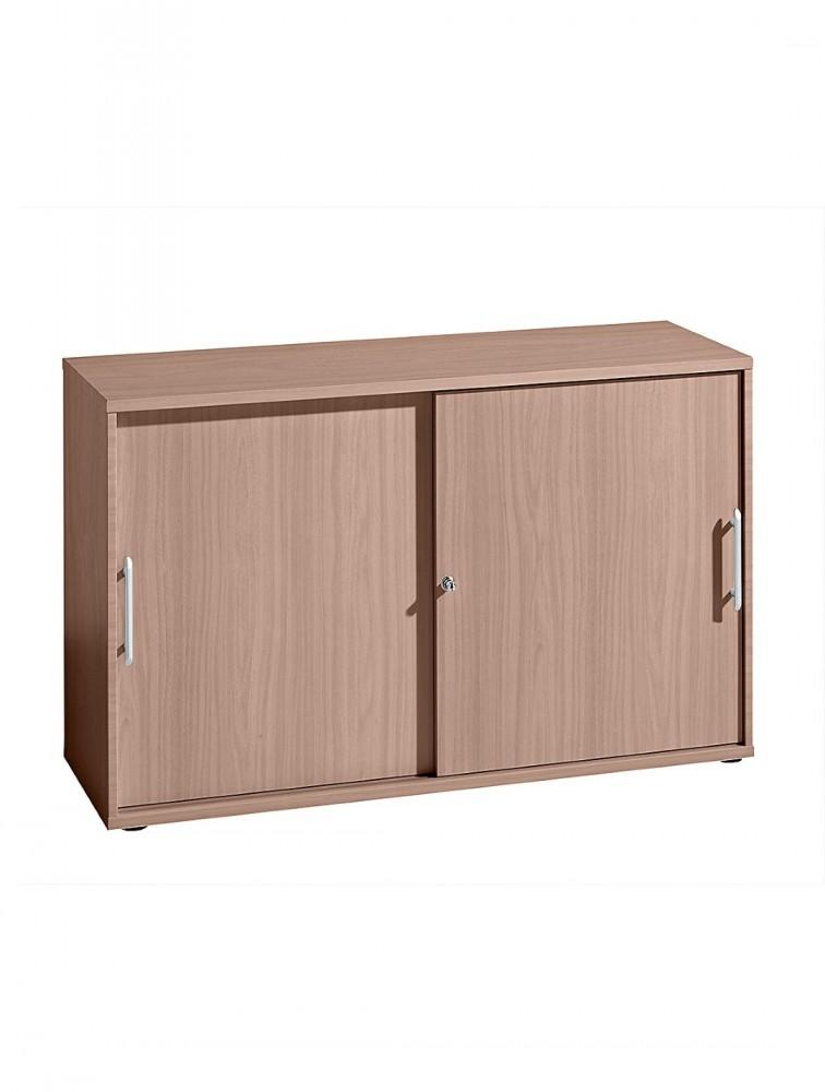 armoire basse en bois avec portes coulissantes slide delex mobilier. Black Bedroom Furniture Sets. Home Design Ideas