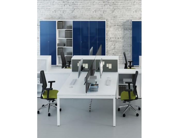 bureau individuel m lamin avec passe c bles int gr tube quadrifoglio. Black Bedroom Furniture Sets. Home Design Ideas