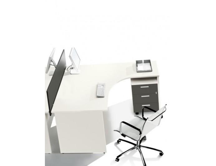 Bureau compact 90° BASIC retour à droite blanc