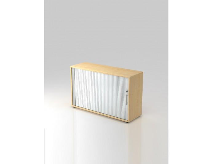 Armoire en bois avec rideau 2 hauteurs CORTINA coloris Erable/Argenté