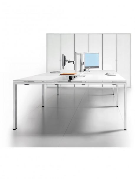 Bureau bench 2 postes avec plateau mélaminé GLIDER