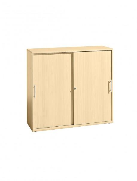 Armoire de bureau bois avec portes coulissantes SLIDER coloris Erable