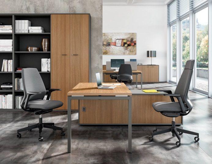 Bureau droit avec rangement IDEA 01 - Hêtre/Aluminium