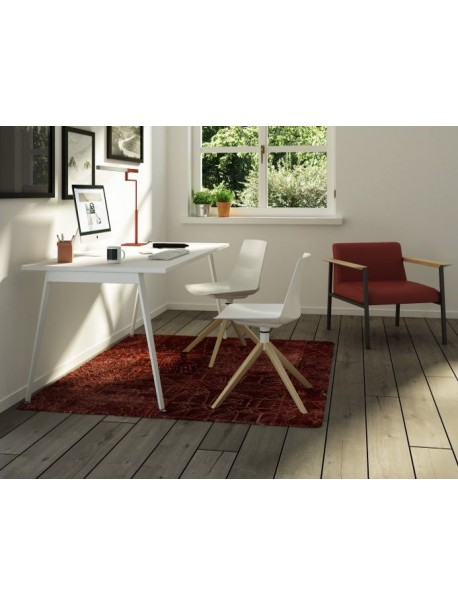 Chaise de réunion piétement pyramidal CLUE - Blanc/Frêne