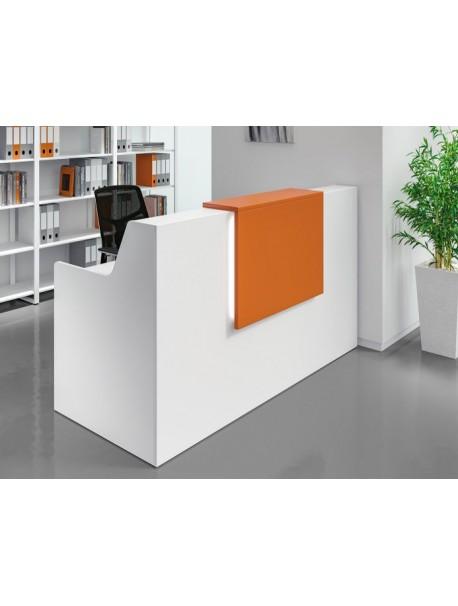 Banque d'accueil debout pour 1 personne ADELIS - Blanc/Orange