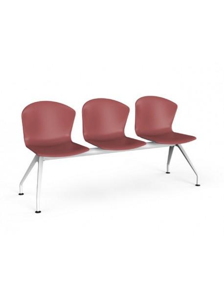Chaises d'attentes sur poutre 3 places en polypro rouge WHASS