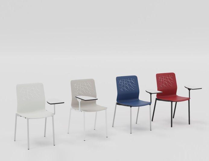 Lot de 4 chaises de formation avec tablette écritoire URBAN BLOK