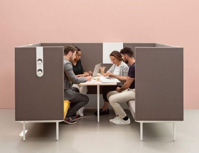 Cabine acoustique ouverte avec table LONGO pour 6 personnes