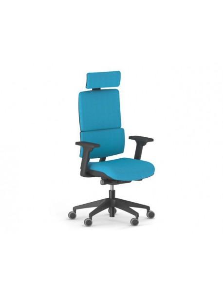 Fauteuil de bureau ergonomique accoudoirs réglables repose tête WI MAX version tapissé