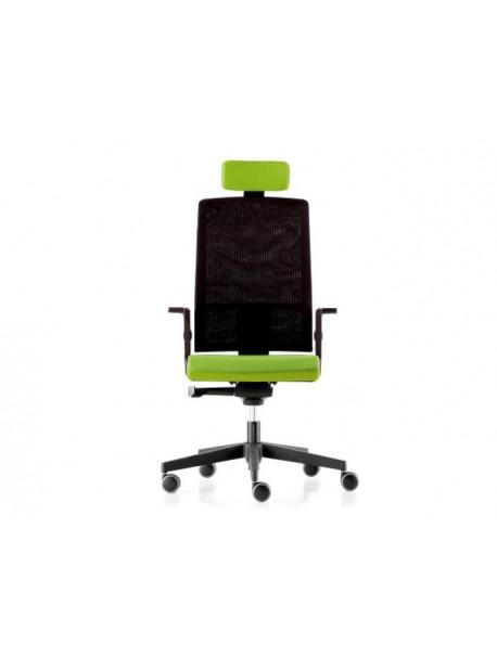 Fauteuil ergonomique de bureau TELA en résille - Noir/Vert