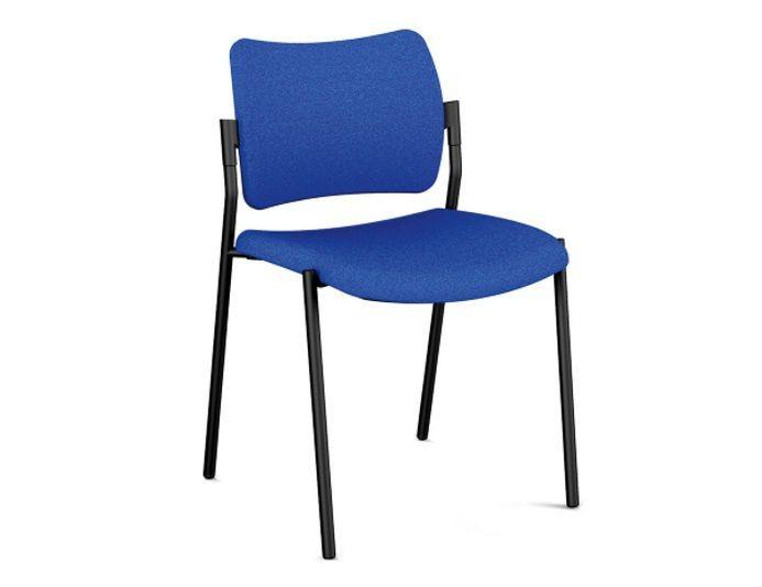 Chaise de réunion AMET avec assise et dossier tapissés - Tissu - 4 pieds - Empilables
