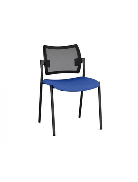 Chaise de réunion empilable AMET en résille - Noir/Bleu