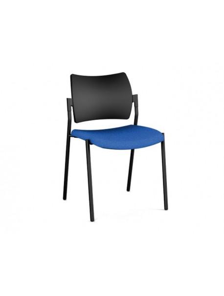 Chaise de réunion empilable AMET 4 pieds - Dossier polypropylène - Bleu/Noir