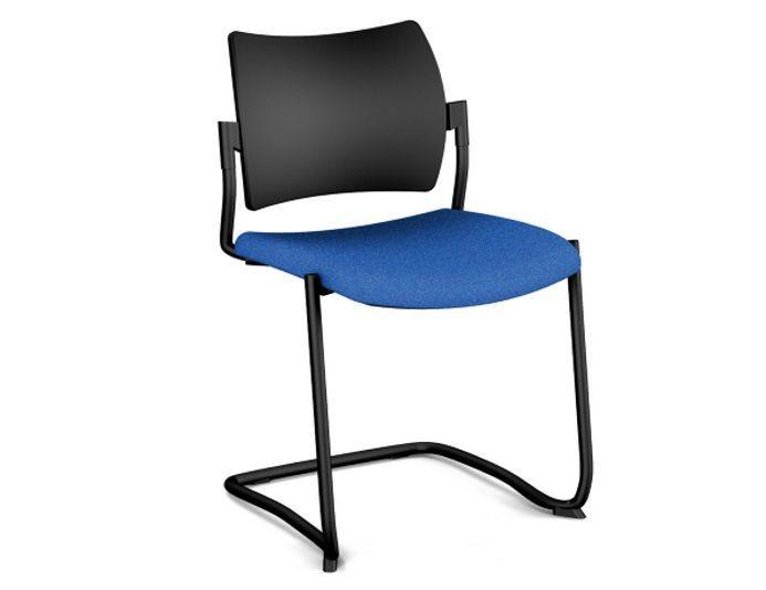 Chaise de réunion AMET piétement luge - Noir/Bleu