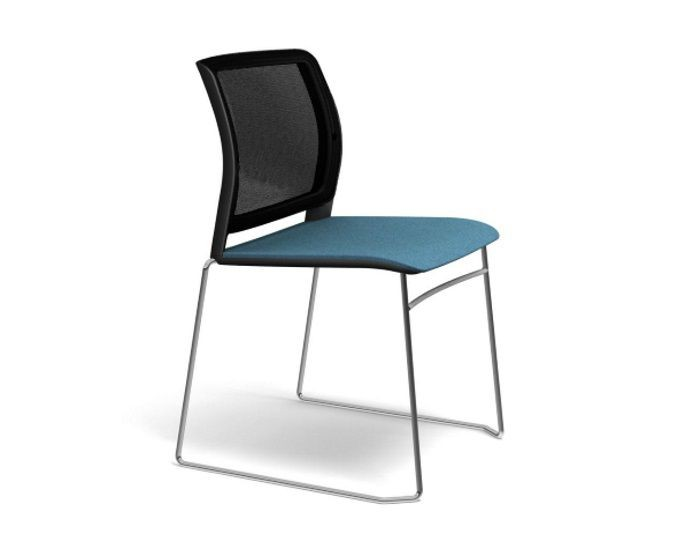 Chaise visiteur ADELA dossier résille - Noir/Bleu