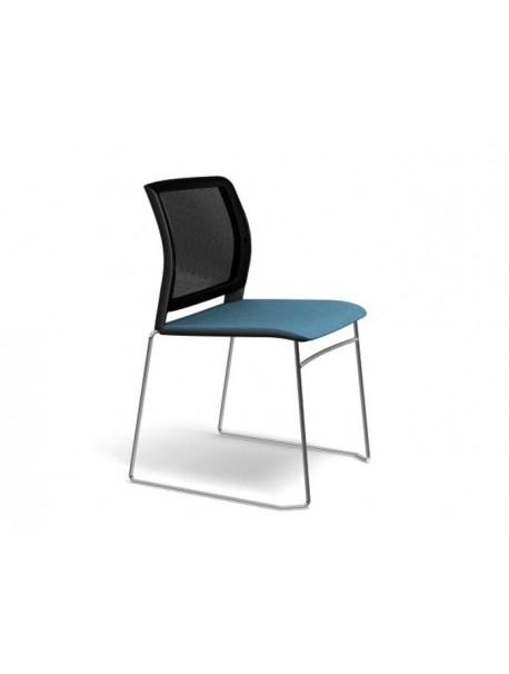 Chaise de réunion empilable ADELA en résille sans accoudoirs - Noir/Bleu