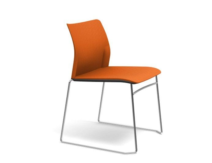 Chaise de réunion empilable ADELA en tissu sans accoudoirs - Orange