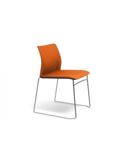 Chaise de réunion empilable ADELA en tissu sans accoudoirs - Orange