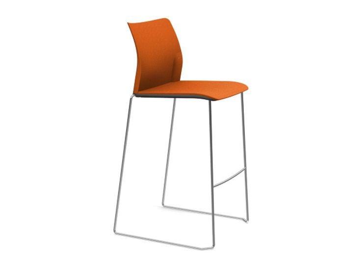 Tabouret de bar ADELA avec dossier en tissu - Orange