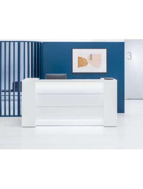 Banque d'accueil avec rangement VALDE - Blanc brillant