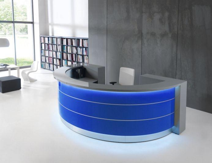 Banque d'accueil arrondie avec rangements VALDE - Bleu
