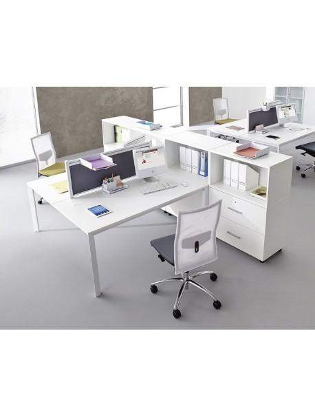 Bureau bench 2 personnes TEOS en stock - Blanc/Blanc